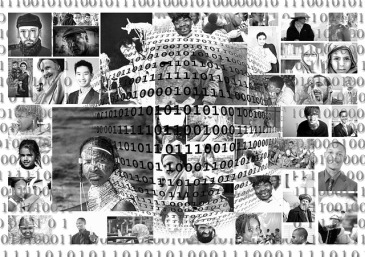Binary code spanning a montage of multicultural people